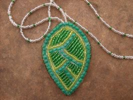 Bead embroidered leaf necklace by PeachPodHandmade