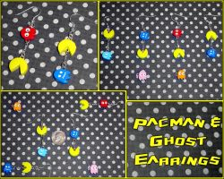 Pacman and Ghost Earrings by YellerCrakka