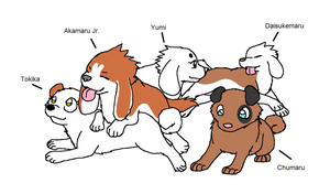 Akamaru and Toki's Puppies by XfangheartX