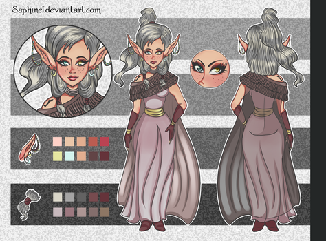 Reference sheet-Dannissa the light Elf by Saphinel