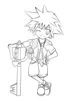 Kingdom Hearts I: Sora Lineart by t0m0y04evr