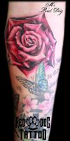 Color shaded rose by Reddogtattoo