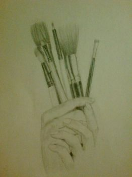 Hands With Makeup Brushes by yel3