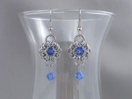 Poppy Chainmail Earrings featureing Blue Swarovski by Pharewings