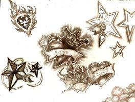 Tattoo Flash-Hearts by Lucara