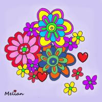 Flower Collage Abstract with hearts by MelianOfMist