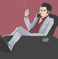Yakuza - Kiryu chilling out by litesnake
