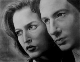 Mulder + Scully by whimsycatcher