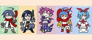 Disgaea keychains set - front by brokentrain