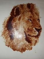 Lion Portrait using Syrup by AndrewFisherArt