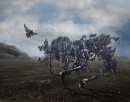 Purple Tree and Mountain Premade background 0016 by annamae22