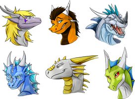 Some dragons headshots by Natsuakai