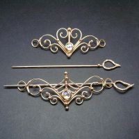 Bronze and Crystal Barrettes by BronzeSmith