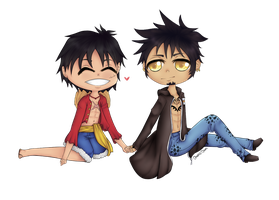 Luffy + Law by x-chaoticdawn-x