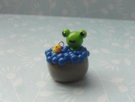 Cute Clay Frog in a Tub by CraftyOlivia