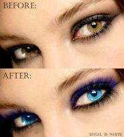 Blue eyes - Before and After by Engel-D-White