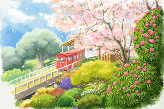Cherry blossom besides cable car station by Ayerslibrary