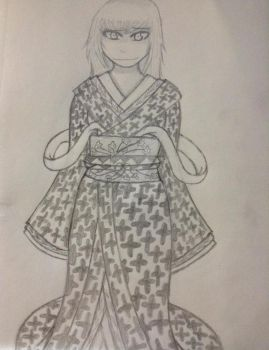 Karin and the Practice of Kimono Drawing by Barakiels-Blessings