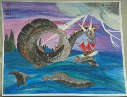 Dragon With Junk Boat by Iolii