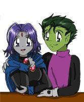 Beastboy and Raven by Gandalfia