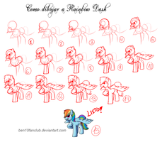 How to draw Ponys-Rainbow Dash by CommyPink
