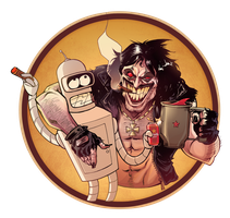Lobo and Bender having fun by skinygalaxier