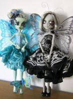 Pappilion Noir and Polly Lupine Monster High Dolls by midnightstrinkets