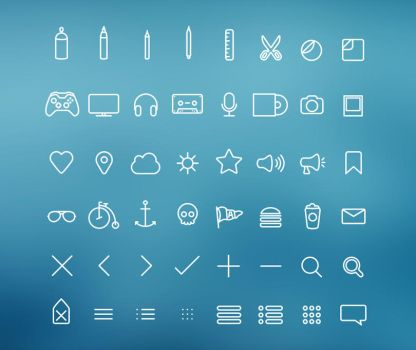 Hangloose Thin Line Icon Set by bestpsdfreebies
