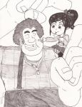 Ralph and Vanellope: Poking Fight by magusVroth