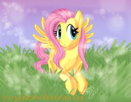 This is a drawing of Fluttershy by OrangeBlueCream