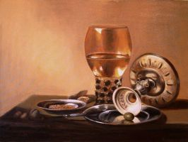 Still life with a glass and silver bowl by mjdezo