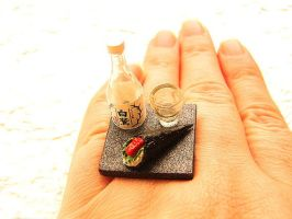 Sake Bottle Cup And Sushi Ring by souzoucreations