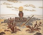 Land with Owl, Grave, Coffin by Miciap