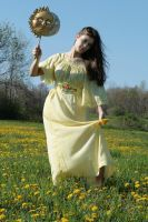 yellow sun dress hair to side by eyefeather-stock