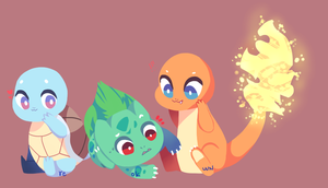 Kanto Starters by reokwn