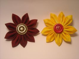 Maroon + Gold Flowers by Ghost-Apple