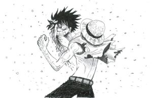 one piece, angry luffy by heivais
