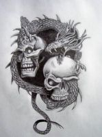Skull and Dragon by Feelxlikexmore