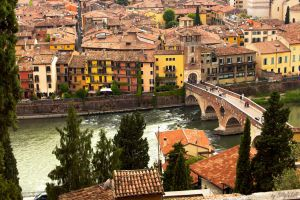 Old Bridge In Verona Over Adige River V by BillyNikoll