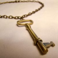 Brass Skeleton Key Necklace by SteamSociety