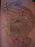 Peony Sleeve Tattoo Design by Sketcher103