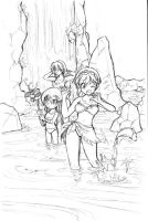 Norya at waterfall sketch by edwardgan