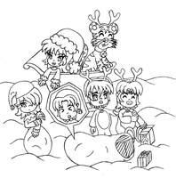 Ronin Warriors Christmas lineart by MikariStar