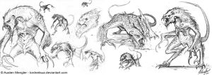 Creature Design: Sketches pg 4 by LordNetsua