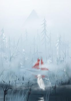Great Egret's Stay In The Foggy Snowy Mountains by ReadSapphirine