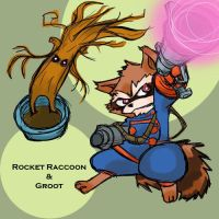 Guardians of the Galaxy: Rocket Raccoon and Groot by kaiko6
