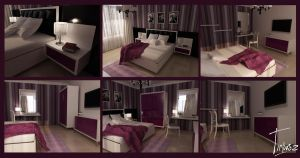 Purple bedroom design by anna1984