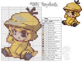 Psyduck Moemon Cross stitch by zombiefriedchicken