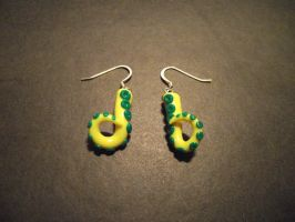 Yellow and green tentacle earrings by ayarel