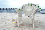 Wicker Chair, Bunny, and Basket of Eggs by ALPStock